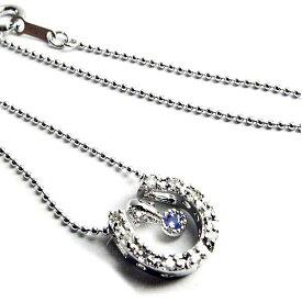 シルバー ネックレス 誕生石 ダイヤモンド 馬蹄 ホースシュー 12月 タンザナイト シルバーアクセサリー シルバー925 S341-12