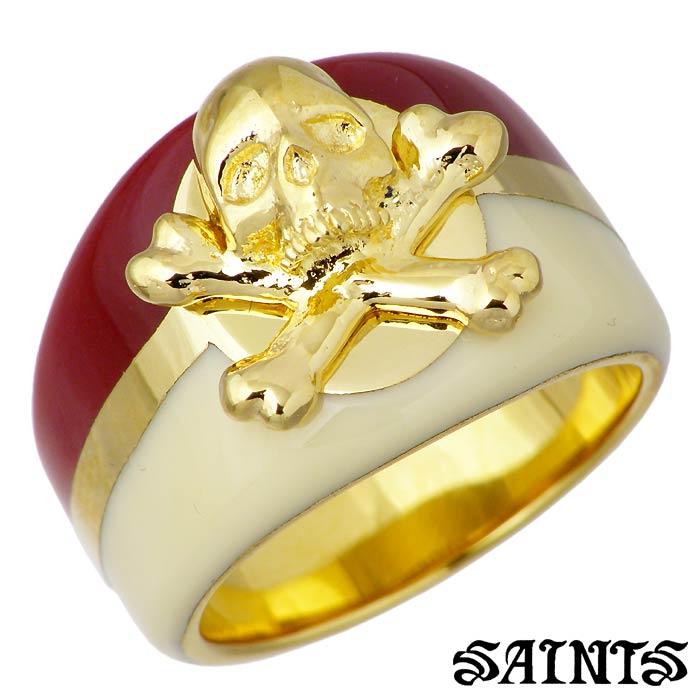 SAINTS【セインツ】レッド カリビアン シルバー リング 指輪 レディース スカル 9〜13号 ゴールド SSR3-124GD