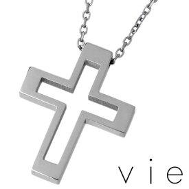 vie【ヴィー】 ステンレス クロス ネックレス アクセサリー 金属アレルギー対応 十字架 アレルギーフリー vie-N1157