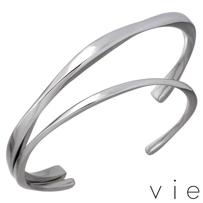 vie【ヴィー】ステンレス ペア バングル 金属アレルギー対応 2本セット 刻印可能 vie-B1243-44-P