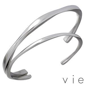 ヴィー vie ステンレス ペア バングル アクセサリー 金属アレルギー対応 2本セット 刻印可能 vie-B1243-44-P