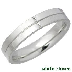 white clover【ホワイトクローバー】 リング 指輪 金属アレルギー対応 クロスライン ステンレス メンズ シルバー 13〜19号 アレルギーフリー 4SUR031SV