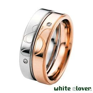 ホワイトクローバー white clover ペア リング 指輪 アクセサリー 金属アレルギー対応 & アンド ステンレス ダイヤモンド 7〜13号 13〜19号 アレルギーフリー 刻印可能 4SUR053GO-SV-P