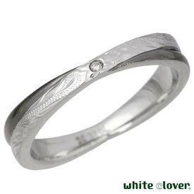 white clover【ホワイトクローバー】ステンレス リング 指輪 メンズ ハワイアンジュエリー ダイヤモンド Xクロス 13〜19号 アレルギーフリー サージカルステンレス316L 刻印可能 4SUR055BK