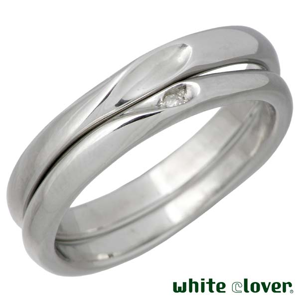 white clover【ホワイトクローバー】 ペア リング 指輪 金属アレルギー対応 シェア ハート ステンレス 3〜19号 7〜30号 誕生石 刻印可能 アレルギーフリー 4SUR100M-102L-RD