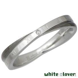 white clover【ホワイトクローバー】 リング 指輪 金属アレルギー対応 Xクロス ダイヤモンドローマ ステンレス ブラック 13〜19号 アレルギーフリー 4SUR018GU