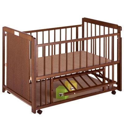 『ブラウン 棚付 エコ』 日本製 ベビーベッド ベビーベット 赤ちゃん ベッド