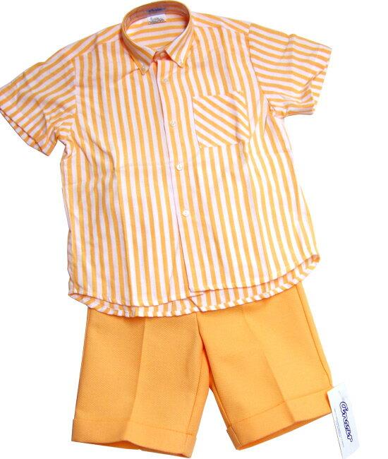 スペイン製Ancar★〜アンカルボーダーボタンダウンシャツとパンツのセット(Boy・オレンジ/5歳・6歳)【お誕生日】5歳:男