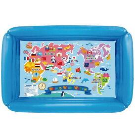 100cm 四角プール プール 四角 世界地図 カラフル おしゃれ かわいい 水遊び 国旗 夏 炎天下 みんなで 楽しく 子供 キッズ お外で ベランダで ギフト