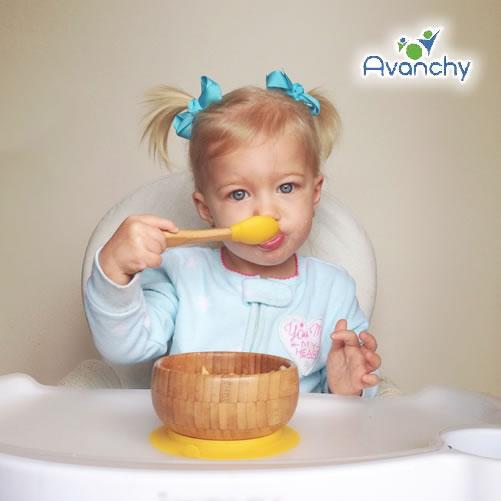 竹のボウル+スプーンセット【箱付】【出産祝い/お食い初め/離乳食】【男の子/女の子】 *Avanchy(アヴァンシー)*
