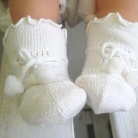 新生児用ソックス 8センチ ベビー靴下 66086 無地 ホワイト セレモニーにもおすすめ!