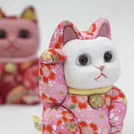 招き猫 おしゃれ 置物 開店祝い 赤/桃 柿沼人形 日本製