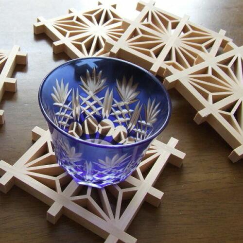 コースター 木製 麻の葉 江戸組子 建松 日本製