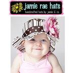 ジェイミーレイハット(JamieRaeHats)お花の帽子サンハット【ブラウン×ピンクストライプ】・しゃくやくベビーキッズ女の子◆プレゼント・ギフト・出産祝い・お祝い・子供用帽子キッズ用帽子・ベビー用帽子・赤ちゃん用帽子・可愛い◆