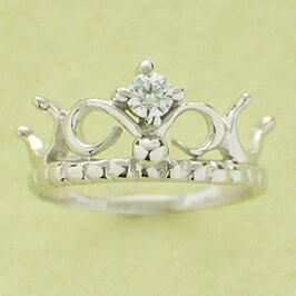 ベビーリング 出産祝い 刻印 ティアラ 誕生石 4月 ダイヤモンド 宝石箱セット チェーン付