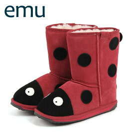 EMU ブーツ エミュ キッズブーツ シープスキン ブーツ LITTLE CREATURE LADYBIRD RED/レッド 【ベビーキッズ】 【K10111】 送料無料