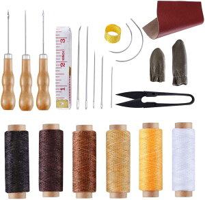 レザークラフト 22点セット Andyamy 皮革用具 裁縫セット 手つくり 蝋引き系 千枚通し レザー道具 初心者 家庭用修理 本革付