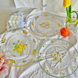 韓国インテリア クリア 透明 花柄 フラワー お皿 カフェ風 カフェ おしゃれ インテリア オルチャン 可愛い ナチュラル かわいい 韓国 アンティーク ケーキ皿 パン皿