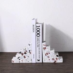 韓国インテリア ブックエンド ブックストッパー 木製 本立て ブックスタンド 大理石 卓上 机上 シンプル ナチュラル かわいい デザイン モダン 北欧 整理 本棚 仕切り 本 収納 本たて ディ