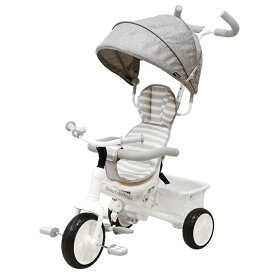 【ヤトミ】トコトコトライク グレークォーツ 三輪車 TokoTokoTrike キャノピー 子供 外遊び 乗り物 乗用玩具 キッズ プレゼント 子ども 3輪車 3way シンプル グレー かじとり カジツキ ホワイト