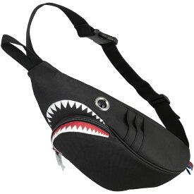 ウエストポーチ モーンクリエイションズ シャークウエストポーチ 人気の動物バッグシリーズ! サメバッグ 正規品 ウエストバッグ ウエストバック MORN CREATIONS シャークバッグ ブラック