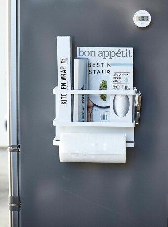 ラップホルダーYAMAZAKITOWERマグネットキッチンペーパー&ラップホルダーマグネット簡単取り付け!冷蔵庫側面収納ラップ入れキッチンペーパーホルダー山崎実業タワーホワイト