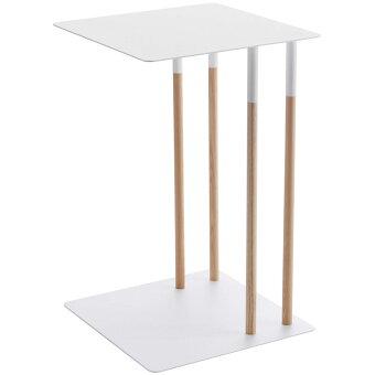 サイドテーブルYAMAZAKIPLAIN差し込みサイドテーブルおしゃれでスタイリッシュなデザイン!ソファベッドリビング寝室天然木コーヒーテーブルナイトテーブル山崎実業プレーンホワイト