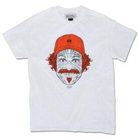 【MANASTASH】(マナスタッシュ) COUSIN S/S TEE / カズン ショートスリーブ Tシャツ (ホワイト/オレンジ) 渋谷 バックドロップ 渋谷の老舗アメカジショップ the back drop ロンT ベンラム BEN LAMB コラボ アート