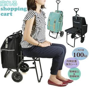 ショッピングカート 椅子付き 通販 折りたたみ 座れる 便利 おしゃれ 大容量 保冷 折り畳み式 ショッピングバッグ キャスター付き お買い物カート 保冷バッグ 2輪 イス付 CHARMISS シャルミス 1