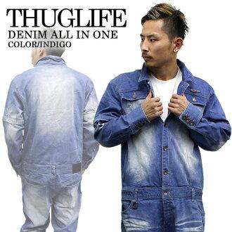 时尚领带 THUGLIFE 暴徒生活所有在一 THUGLIFE 牛仔 2WAY 工作服漂白剂 B 系列嘻哈男装时尚牛仔裤工作服工作工作服漂白剂大型大尺寸的工作服蓝蓝