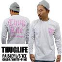 待望の再入荷!! THUGLIFE PROCLUB サグライフプロクラブ 長袖Tシャツ メンズ PAISLEY LOGO ペイズリーロゴ ロングスリーブ ホワイト×…