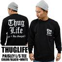 THUGLIFE PROCLUB サグライフプロクラブ 長袖Tシャツ PAISLEY LOGO ペイズリーロゴ ロングスリーブ ホワイト×ブラック B系 HIPHOP ア…