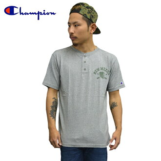 Champion champion short sleeve T shirt football Henry neck T shirt campus graphic cotton T shirt gray Indian Street series mens ladies engaging casual