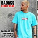 BADASS BOXロゴ ボックスロゴ バダス 半袖 Tシャツ メンズ レディース アクアブルー メンズ スケート ストリート スノーボード ダンス…
