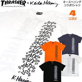 新入荷です!!THRASHER Tシャツ キースヘリング 半袖Tシャツ スラッシャー Keith Haring THKH-ST19 メンズ レディース すらっしゃー コラボ ストリート系 ファッション スケーター サーフィン HIPHOP b系 ダンス 衣装