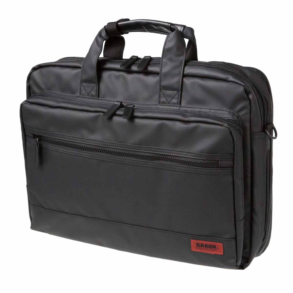 ビジネスバッグ SAXON サクソン A4 No:5146 耐水 防汚 カーボンコーティング素材 2ルーム ノートPC 対応 B4 ファイル 対応 軽量 エクスパンダブル 通勤 通学 就活