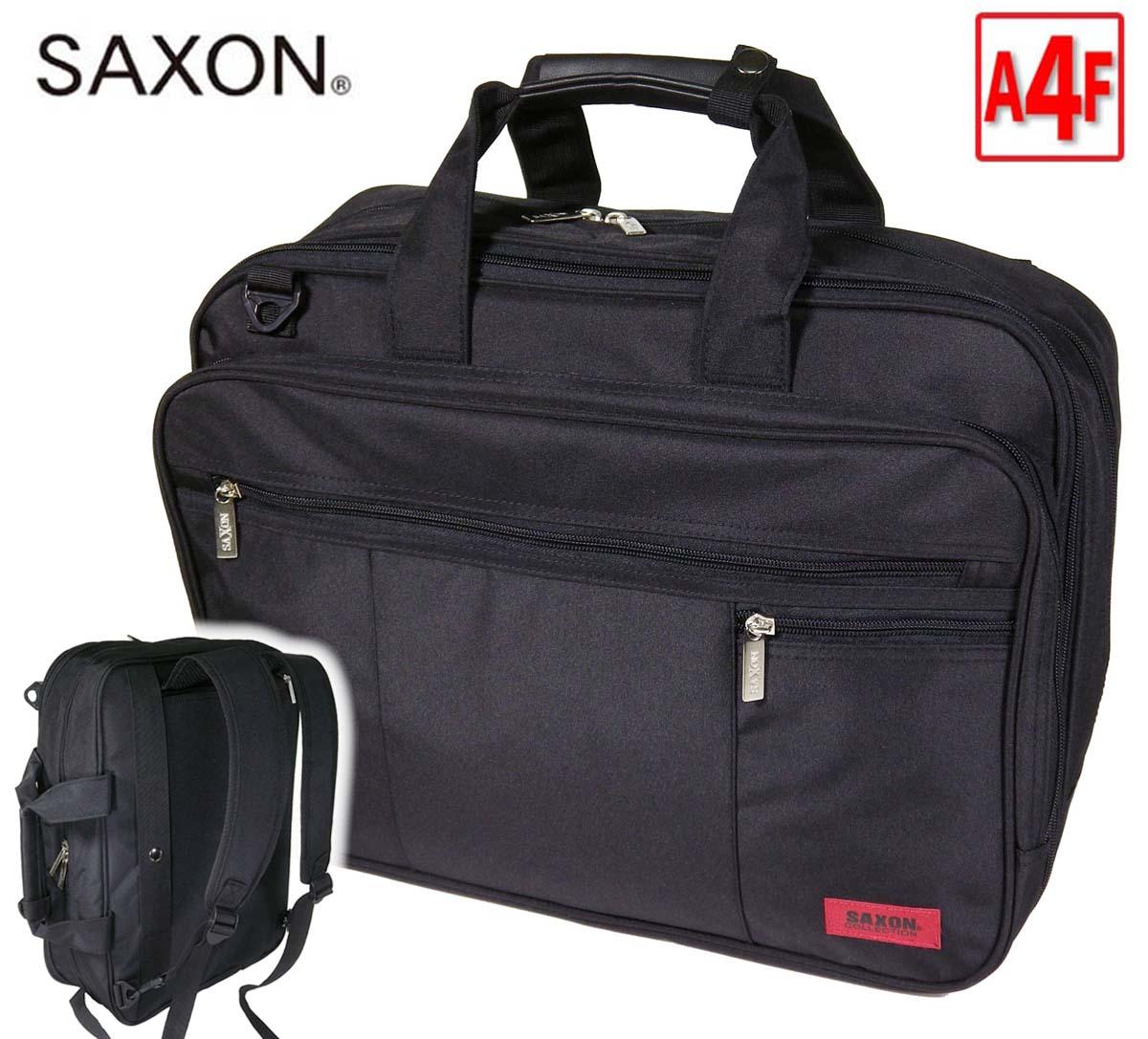 ビジネスバッグ SAXON サクソン 5173 縦型 3Way ノートPC対応 エクスパンダブル 機能 キャリーバーベルト マイクロファイバー 軽量 撥水 ビジネスバッグ 通勤 通学 就活