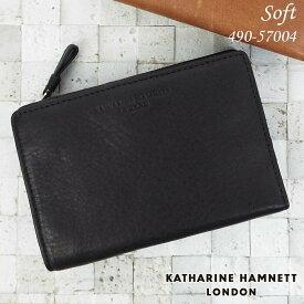 キャサリンハムネット KATHARINE HAMNETT 二つ折り財布 ソフト牛革 メンズ ブラック/ブラウン 490-57004