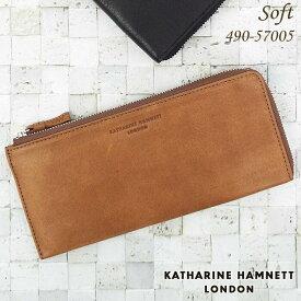 キャサリンハムネット KATHARINE HAMNETT 長財布 札入れ ソフト牛革 メンズ ブラック/ブラウン 490-57005