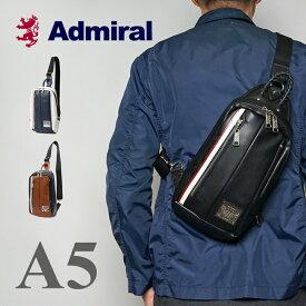 アドミラル ボディバッグ メンズ レディース ブランド ワンショルダーバッグ ブラック 斜めがけ PU レザー 撥水 軽い 薄型 [新作/公式] Admiral ADDA-01 プレゼント ギフト バレンタインデー