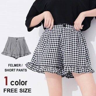 Frill gingham check culottes underwear short pants Lady's checked pattern underwear short length culottes A-line slim flare underwear black pants bottoms culottes underwear cotton polyester BIC silhouette high waist waist rubber spacious F