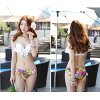 The child of the swimsuit Lady's bikini swimsuit flare frill swimsuit three points set yellow white white halterneck floral design shorts V neck sexy wire swimsuit Tani Cal plain fabric swimwear S/M/L beach pool mom adult woman is pretty