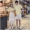 The size room wear house coat yellow honeymoon couple birthday present lover that pair look couple short sleeves T-shirt horizontal stripes long skirt plain fabric half underwear white white couple matching clothes summer clothes men gap Dis cotton S - 3