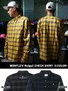 モーレー MONTLEY Ridge3チェックシャツ ロゴ刺繍入りネルシャツ 長そで 黒/緑/黄色 メンズ 男女兼用 Ridge3 CHECK SHIRT -3.COLOR-