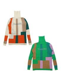 トミトエイチ Tome2H カラー ブロック タートルネック COLOR BLOCK TURTLENECK -Lady's- レディース フリーサイズ オフホワイト/グリーン