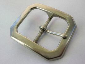 ベルト幅45mm用 重厚八角バックル (シルバー)真鍮 ブラス 馬具職人工房