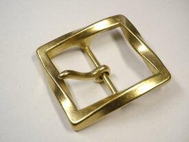 真鍮無垢 ベルト幅40mm用 スクエアツイストバックル (ゴールド ブラス)馬具職人工房