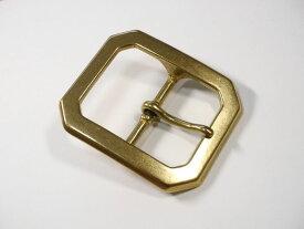 ベルト幅45mm用 重厚八角バックル (ゴールド)真鍮無垢 ブラス 馬具職人工房