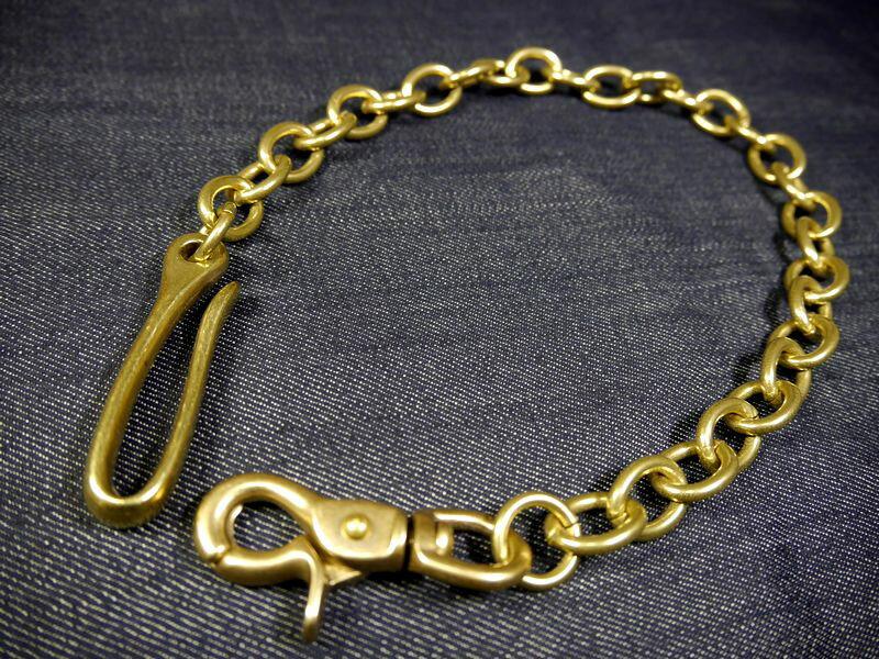 真鍮無垢 鋳物 ブラス ナスカン&釣り針フック 小判型ウォレットチェーン 馬具職人工房 真鍮 ツリバリフック ナスカン