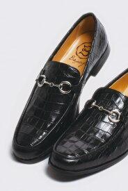 b82f95262e5d レザービットローファー クロコダイル型押しブラック ブラックソール 国産 革靴 紳士靴 牛革 BajoLugo バジョルゴ